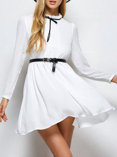 Ruff Collar Pleated Chiffon Dress - White 2xl