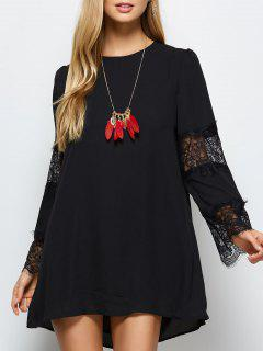 Long Sleeve Lace Panel Chiffon Shift Dress - Black S
