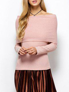 Faltdeckung Schulterfrei Pullover - Hell Aprikose Pink  S