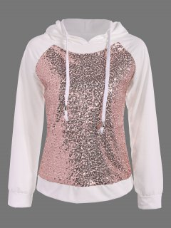 Sequined Drawstring Hoodie - White S
