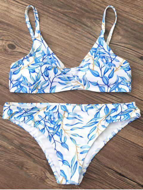 fashion Bright Printed Bikini Set - BLUE L Mobile