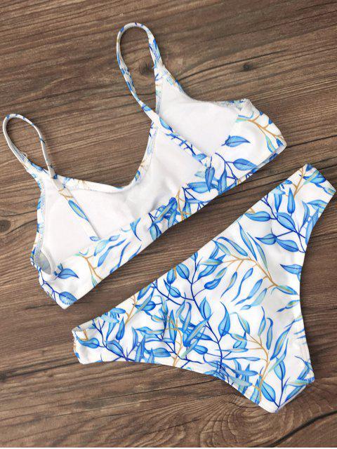 fancy Bright Printed Bikini Set - BLUE S Mobile