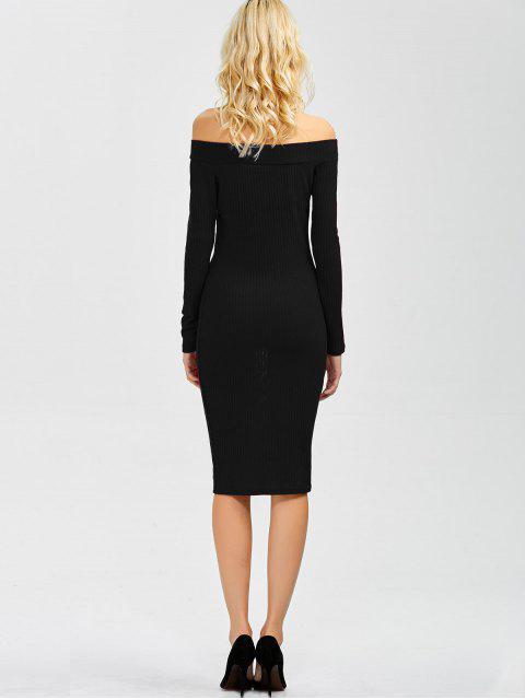 Robe moulante dénudée manches longues - Noir XL Mobile