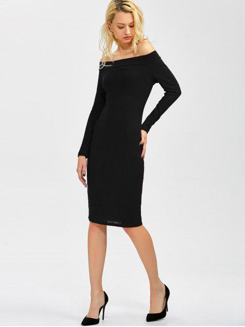 women's Off Shoulder Bodycon Long Sleeve Dress - BLACK S Mobile