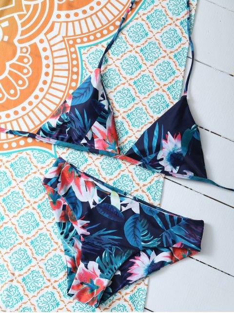 unique Flower Halter Bikini Set - BLUE M Mobile