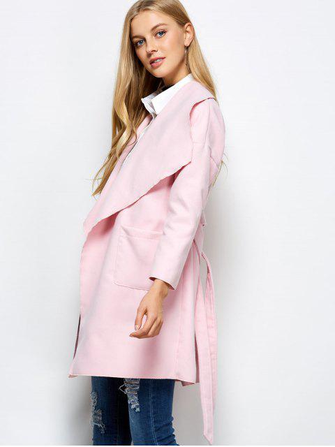 shops Wrap Woolen Coat With Pockets - PINK XL Mobile