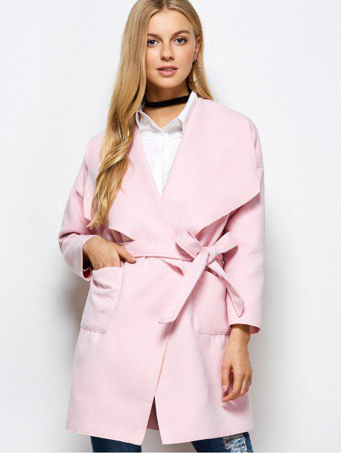 trendy Wrap Woolen Coat With Pockets - PINK M Mobile