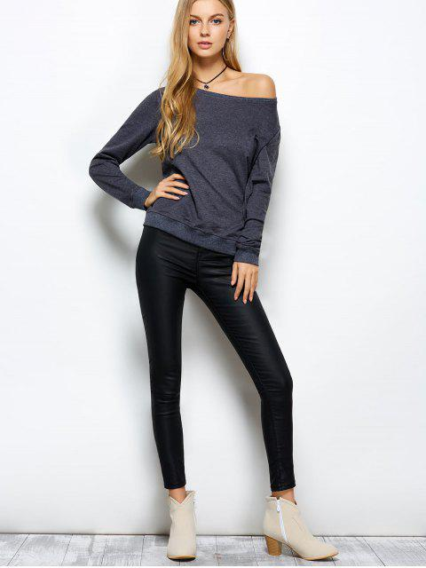 trendy Loose Skew Neck Sweatshirt - GRAY M Mobile