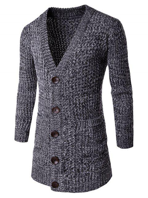 women's Pocket Button Front V Neck Knitted Cardigan - DEEP GRAY 2XL Mobile