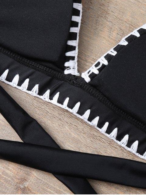 online Embroidered Bowknot Bikini Set - BLACK XL Mobile