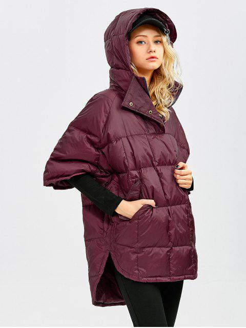 outfits Oversized High-Low Down Coat - WINE RED L Mobile