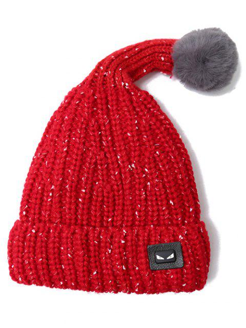 lady Demon Label Flanging Knit Hat - BRIGHT RED  Mobile