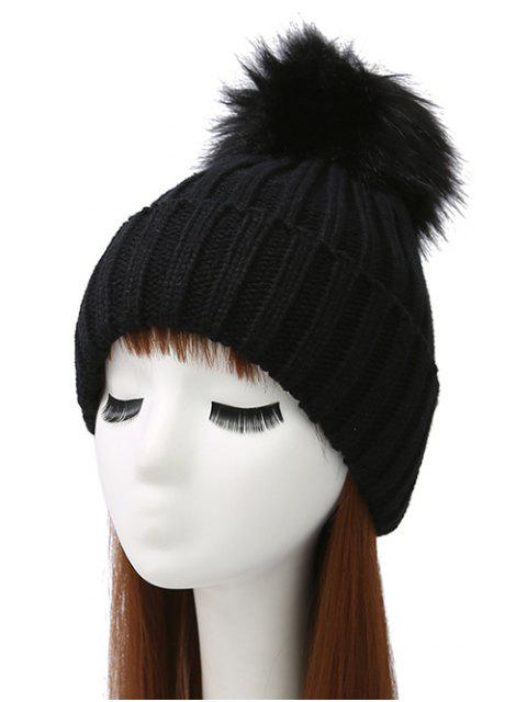 new Flanging Pom Ball Knitted Beanie -   Mobile