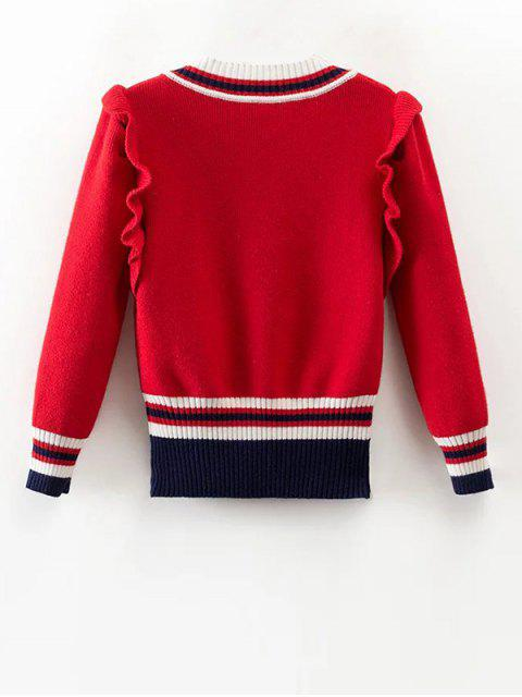 hot Striped Ruffles V Neck Sweater - RED M Mobile