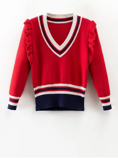 outfit Striped Ruffles V Neck Sweater - RED S Mobile