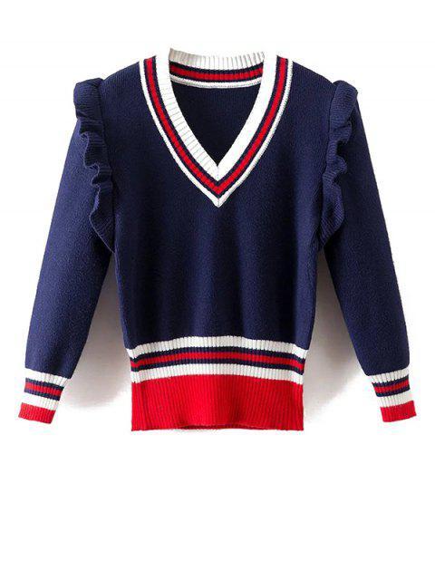 shop Striped Ruffles V Neck Sweater - BLUE M Mobile