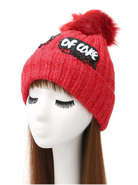 shops Chain Letter Embellished Pom Hat - BRIGHT RED  Mobile