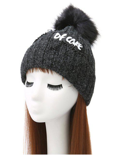trendy Chain Letter Embellished Pom Hat - BLACK  Mobile