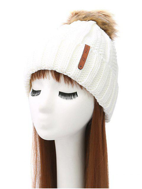 sale Striped Pom Ball Knitted Beanie -   Mobile