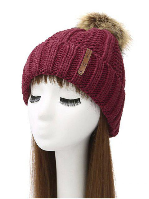buy Striped Pom Ball Knitted Beanie -   Mobile