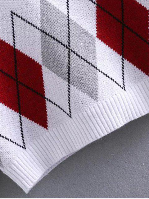 latest Argyle Jacquard Mock Neck Sweater - WHITE ONE SIZE Mobile