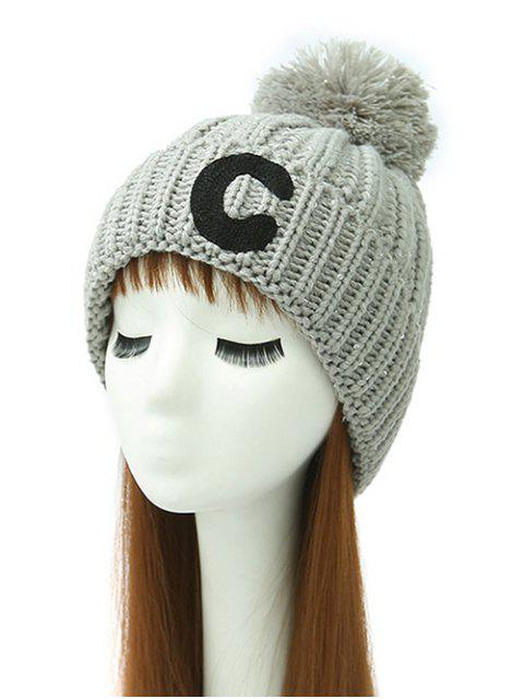 ladies Letter C Pom Ball Knitted Beanie -   Mobile