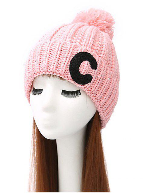 lady Letter C Pom Ball Knitted Beanie -   Mobile