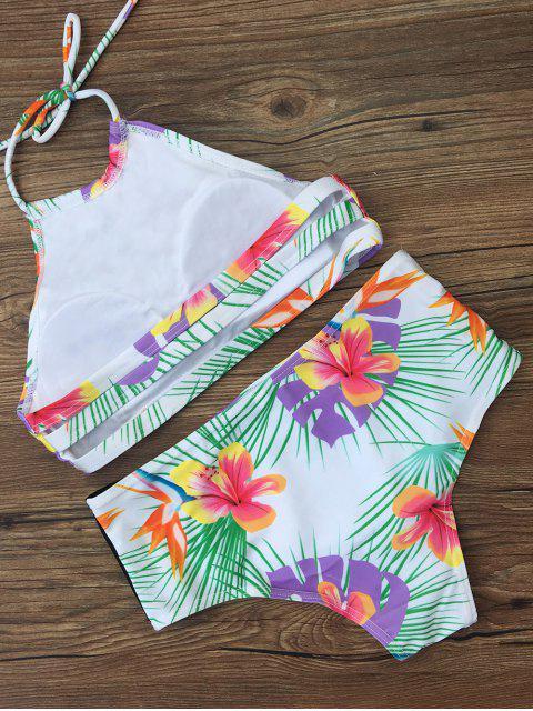 shop High Waist Tropical Print Bikini Set - WHITE L Mobile