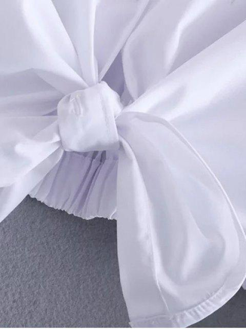 chic Tied Patch Boyfriend Shirt - WHITE M Mobile