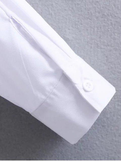 fancy Tied Patch Boyfriend Shirt - WHITE S Mobile
