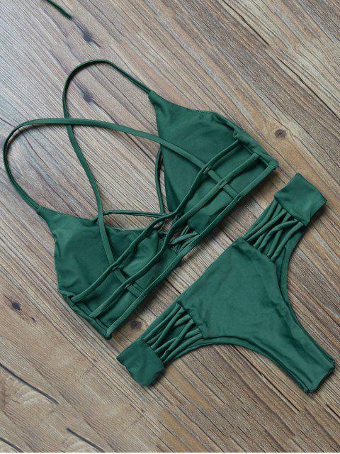 chic Lattice Straps Bikini Set - GREEN L Mobile