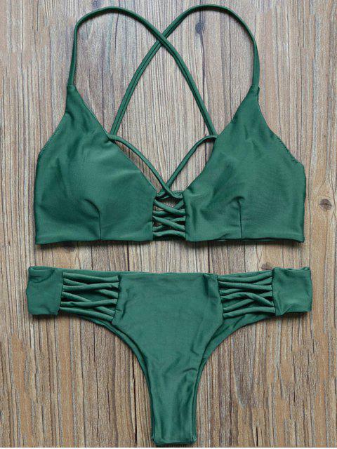 unique Lattice Straps Bikini Set - GREEN S Mobile