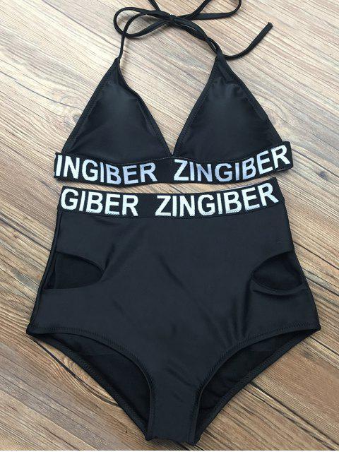 outfits High Waist Sports Letter Bikini Set -   Mobile
