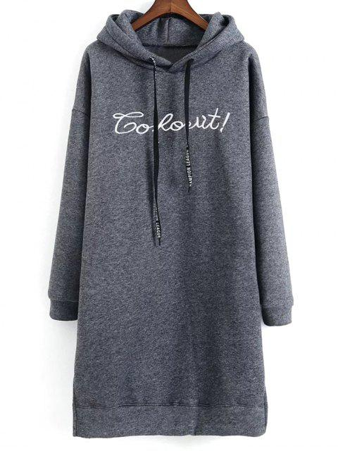 womens Letter Embroidered Hoodie Dress - GRAY ONE SIZE Mobile