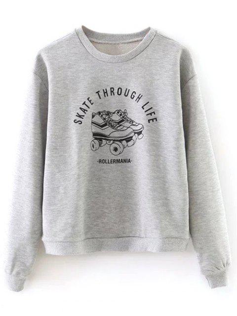 sale Ice Skates Print Pullover Sweatshirt - GRAY L Mobile