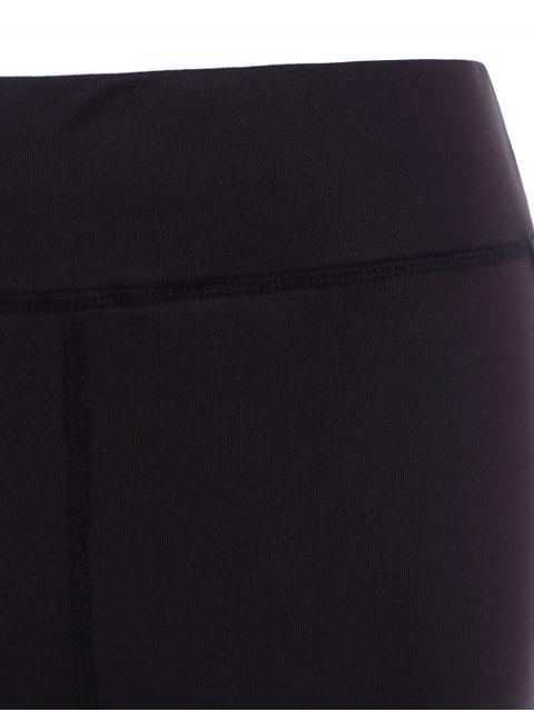 affordable Running Mesh Insert Leggings - BLACK L Mobile
