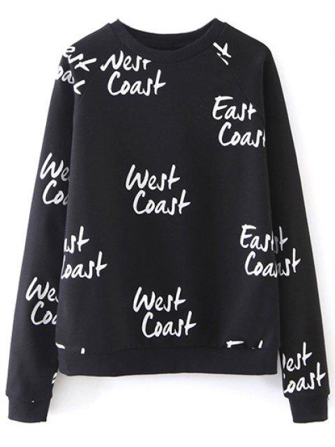 womens West Coast Raglan Sleeves Sweatshirt - BLACK L Mobile