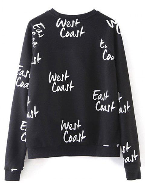 women's West Coast Raglan Sleeves Sweatshirt - BLACK S Mobile