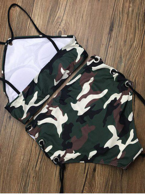 outfits Lace Up High Waisted Camo Swimsuits - CAMOUFLAGE COLOR S Mobile