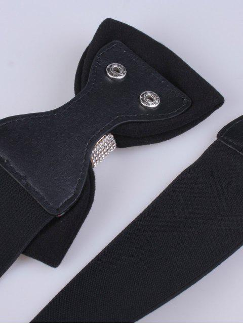trendy Wide Rhinestone Bowknot Stretch Belt -   Mobile