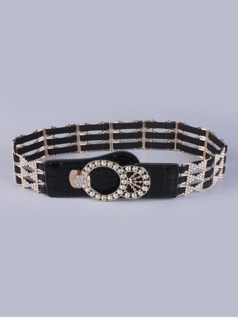 fashion Rhinestoned Hollowed Stretch Belt - BLACK  Mobile