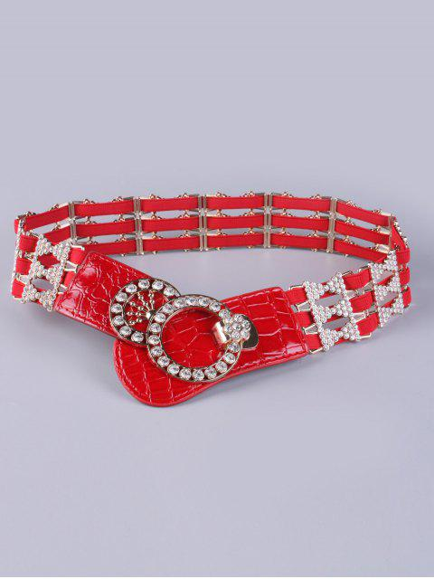 chic Rhinestoned Hollowed Stretch Belt -   Mobile