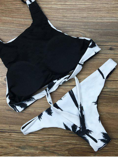 trendy Coconut Palm Pattern High Neck Bikini - WHITE L Mobile