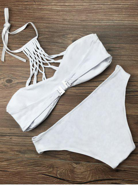 women Cut Out Halter Strappy Bikini Set - WHITE M Mobile