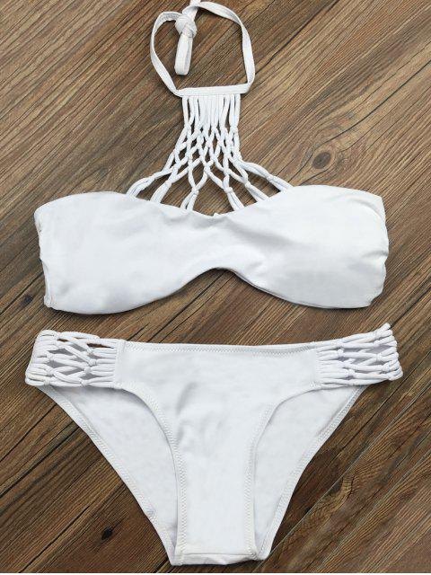 womens Cut Out Halter Strappy Bikini Set - WHITE L Mobile