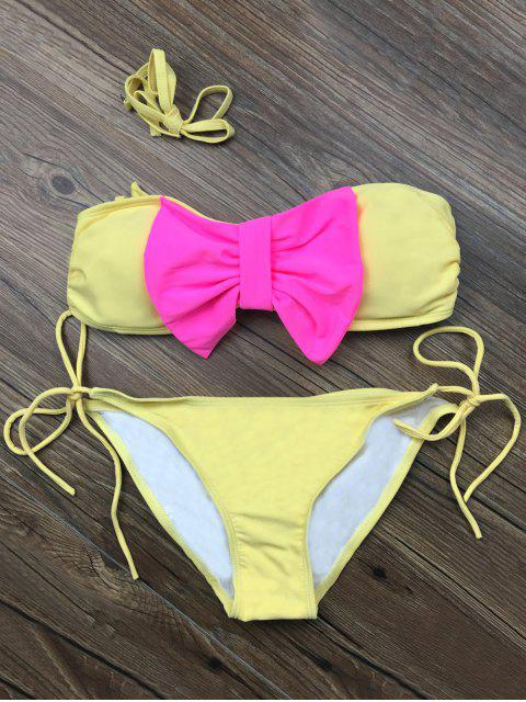 lady Bowknot Halter String Bikini Set - YELLOW L Mobile