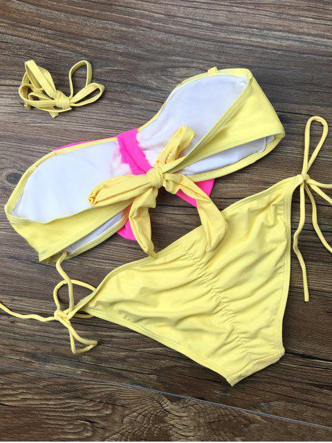 best Bowknot Halter String Bikini Set - YELLOW M Mobile