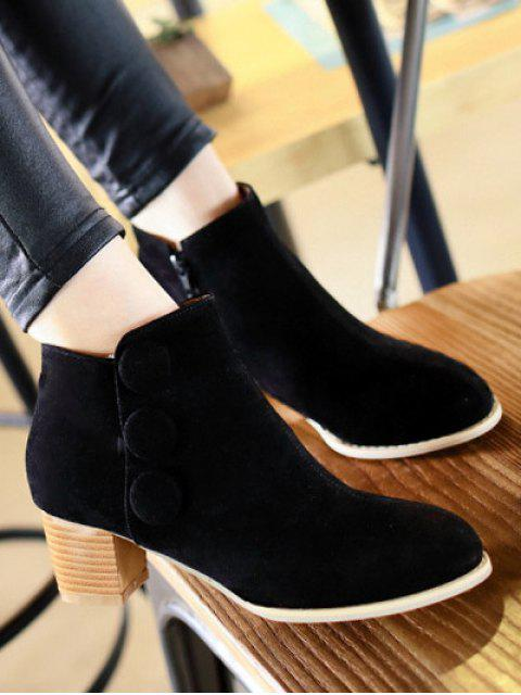 fancy Chunky Heel Buttons Ankle Boots - BLACK 39 Mobile