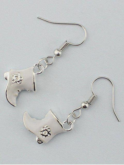 buy Rhinestone Moon Christmas Boots Earrings -   Mobile
