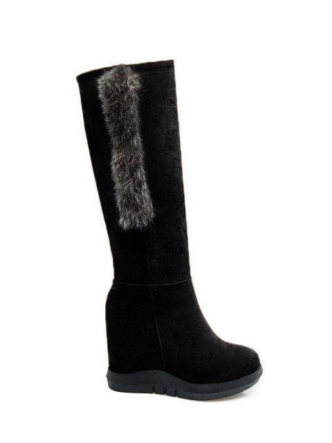 women Faux Fur Mid Calf Hidden Wedge Boots - BLACK 39 Mobile